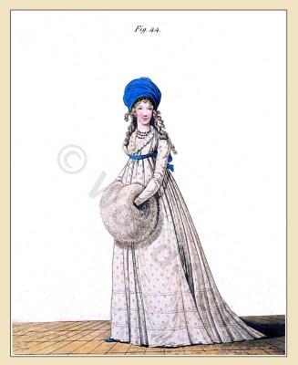 Sprig muslin. Gallery of Fashion. England Georgian, Regency era fashion. Neoclassical costumes.