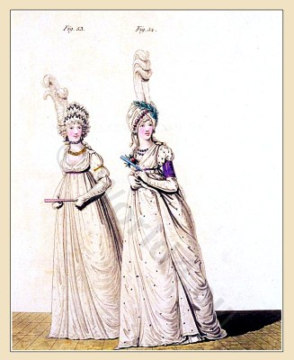 Neoclassical fashion. Jane Austen costume. Empire fashion. eighteenth century. Gallery of Fashion .