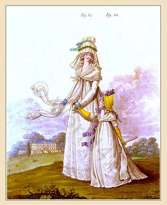 Heideloff The Gallery of Fashion August 1795.. England Georgian period. Regency costumes. Jane Austen clothing.
