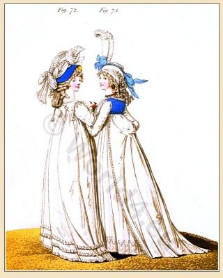 Heideloff Gallery of Fashion. Vauxhall Dresses. England Georgian period. Regency costumes. Jane Austen clothing.