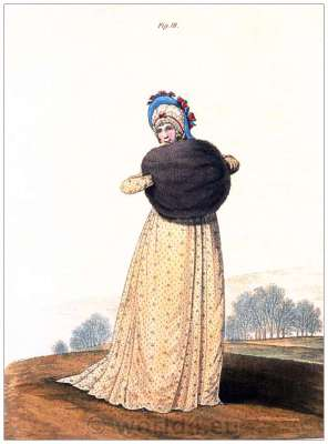 Regency gown. Gallery of Fashion. Georgian fashion. Jane Austen costume.
