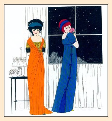 Paul Poiret, Paul Iribe. French Art Nouveau fashion costume ideas,