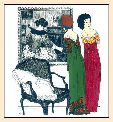 Art Nouveau costumes by Paul Poiret. French Haute couture vintage fashion.
