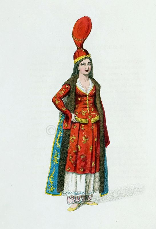 Odalisque of the Sultan's Harem. Ottoman empire historical clothing