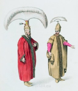 Officers of the Sultan's guard in official attire. Ottoman empire historical clothing