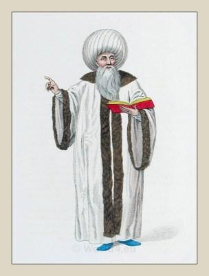 Mufti Istanbul. Muslim Chief costume. Ottoman Empire. Historical Turkish costumes.