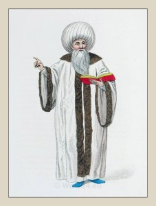 Mufti Istanbul. Muslim Chief costume. Ottoman Empire. Historical Turkish costumes.