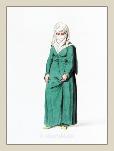 Muslim woman costume. Ottoman empire historical clothing