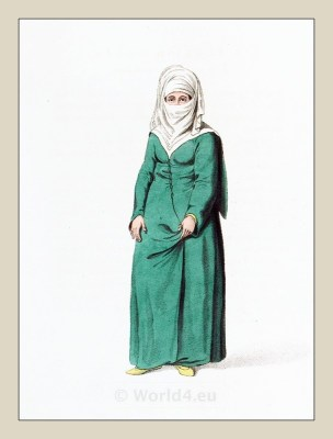 Turkish woman costume. Constantinople. Turkish traditional clothing. Historical Ottoman empire costumes.