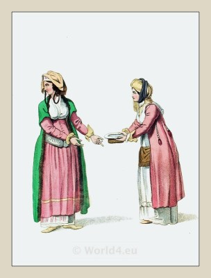 Women Andros Island. Traditional Greek Dress. Greece national costumes. Ottoman Empire.
