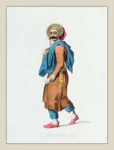 Traditional Syria costume. Ottoman empire historical clothing