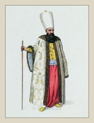 Capidji Bachi. Turkish traditional clothing. Historical Ottoman empire costumes.
