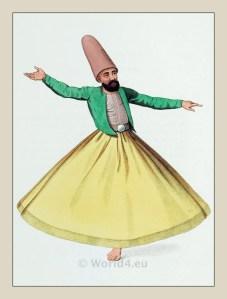 Dancing Dervish costume. Mevlevi order. Ottoman empire historical clothing