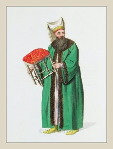 Stool bearer to the Sultan. Ottoman empire historical clothing.