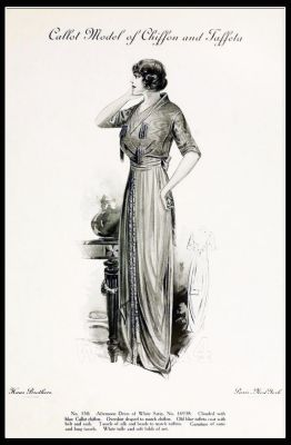 Costume by Callot Soeurs. French haute couture gown. Belle Epoque fashion