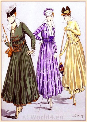 Belle Epoque costumes. French Fin de siècle fashion by couturier Fructus & Descher. Haute couture costumes