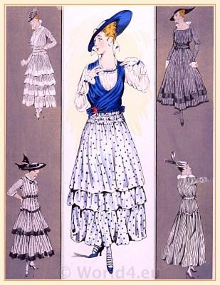 Flounce dresses. Le style parisien. Art deco fashion magazine. French parisiennes collection haute couture. Gatsby period 1920s costumes.
