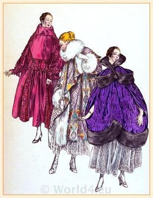 Evening Coats Paris 1917. French Fin de siècle fashion. Belle Epoque costumes. 1910s clothing
