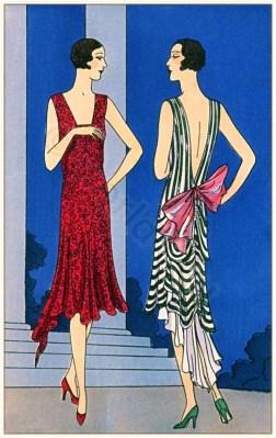 Art deco costumes. Flapper fashion. French 1920s clothing. Couturiers Nanteuil & Bernard et Cie. Les créations parisiennes