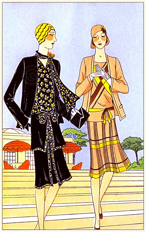Couturiers Drecoll-Beer and Redfern. Art deco costumes. Flapper fashion. French 1920s clothing. Les créations parisiennes.
