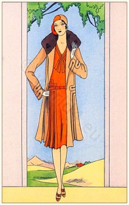 Couturier Jean Patou. Art deco costumes. Flapper fashion Model of Rolls-Royce. French 1920s clothing.