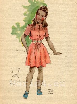 Girl in red belted dress. German Children clothing. Kids vintage costumes. 1940s fashion.