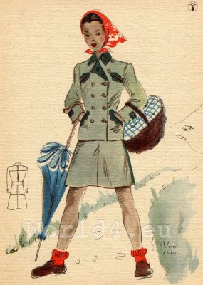 Girl in tight suit. German Children clothing. Kids vintage costumes. 1940s fashion.