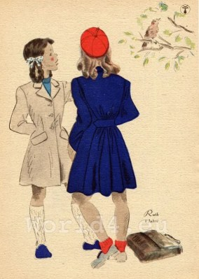 German school girls costume and hairstyle. What did Teens in Germany wear in the 1940's