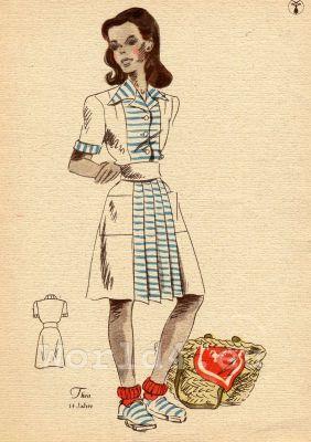 Short sleeved summer dress. German Children clothing. Kids vintage costumes. 1940s fashion.