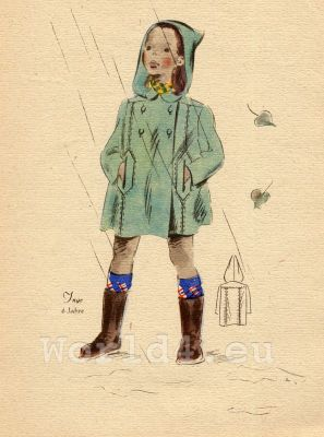Raincoat with hood. German Children Fclothing. Kids vintage costumes. 1940s fashion.