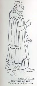 13th century clothing, Middle Ages fashion costume. Medieval dresses. Dark ages Gothic clothing