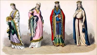 Middle Ages, dress, costumes, Queen, Charlemagne, Carolingian, fashion,medieval,