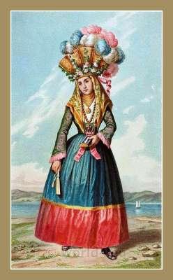 Traditional Serbian National Costumes. Woman Folk dresses from Orebić Dubrovnik Neretva Croatia. DJEVOJKA IZ OREBIĆA