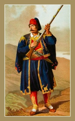 Traditional Serbian National Costumes. Man with gun in Folk dress from Imotica Croatia. MUŠKA NOŠNJA IZ IMOTICA
