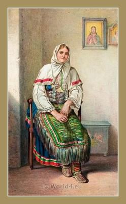 Traditional Serbian National Costumes. Woman Folk dresses from Benkovac Croatia. ŽENSKA NOŠNJA IZ BENKOVCA.