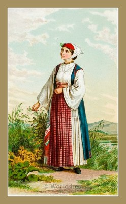 Traditional Serbian National Costumes. Girl Folk dresses from Sinj Croatia. DJEVOJKA IZ SINJA