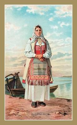 Croatian national costumes. Traditional  Folk dresses Senj. DJEVOJKA IZ SENJSKE OKOLICE