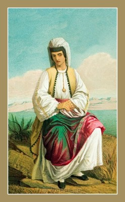 Traditional Serbian National Costumes. Montenegrin Folk Costume from Crnogorka Montenegro.