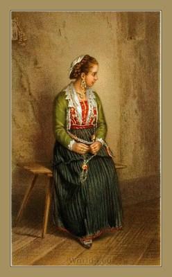 Traditional Serbian National Costumes. Woman Folk Costume from Kaštela Croatia. MUŠKA NOŠNJA IZ KAŠTELA