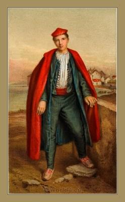 Traditional Serbian National Costumes. Folk Costumes from Split Croatia.