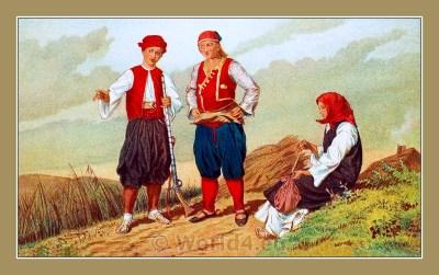 Traditional Serbian National Costumes. Folk Costumes from Metković Croatia. Dubrovnik-Neretva dresses