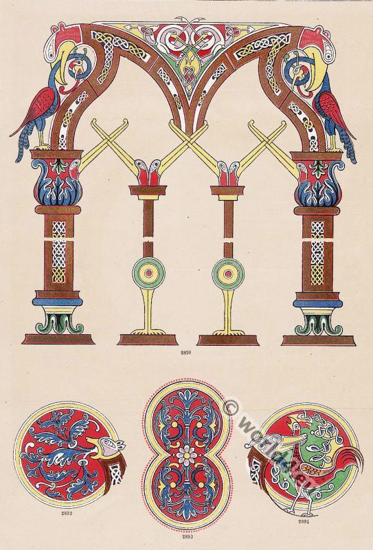 Francs, Saxon, ornaments, Charles the Bald, Carolingian, decoration