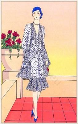 Couturier Bernard et Cie. Art deco costumes. Flapper fashion Model of Cloche de Mai. French 1920s clothing.