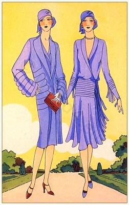 Créations de Philippe et Gaston. Art deco costumes. Flapper fashion Model of Blue Haven. French 1920s clothing.