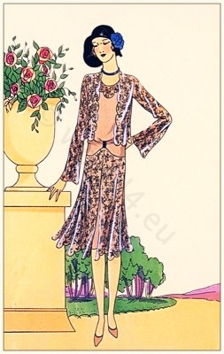 Couturier Nanteuil. Art deco costumes. Flapper fashion Model Tristesse. French 1920s clothing.