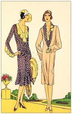 Germaine Lecomte. Art deco costumes. Flapper fashion. French 1920s clothing.