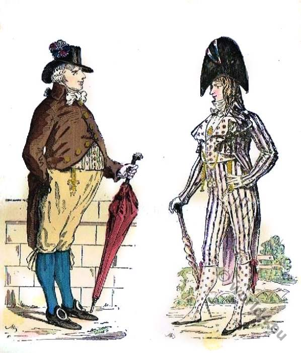 Incroyable, Bourgeois, French, Revolution, costume,