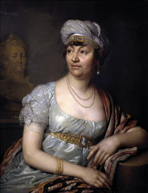 Portrait Madame de Staël. French female writer. Regency fashion.