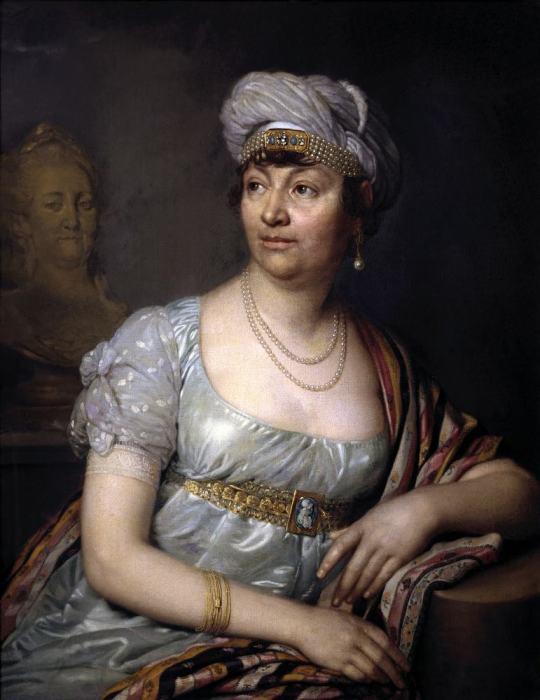 Portrait Madame de Staël. French female writer. Regency fashion.