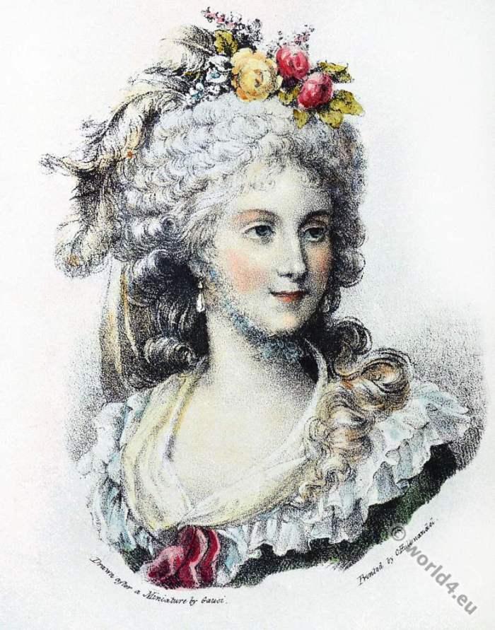 Princesse de Lamballe. French nobility. Rococo fashion.